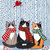 The Winter Cats in Scarves Original Cat Folk Art Painting