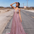Pink Lace Prom Dresses Long Evening Dress A-Line Prom Gowns G5295