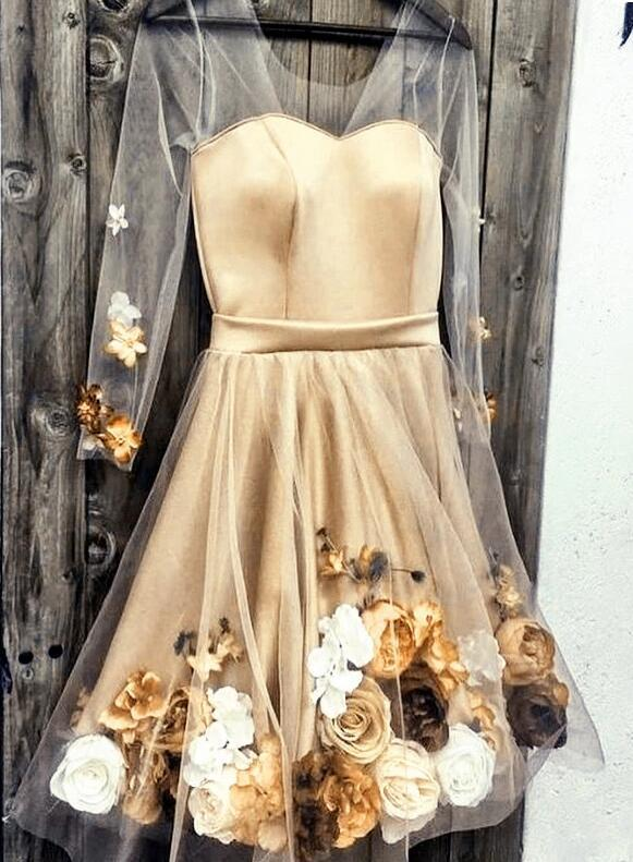 Hot sale Gold Prom Dresses Mini Evening Dress A-Line Cocktail Dress Prom Gowns