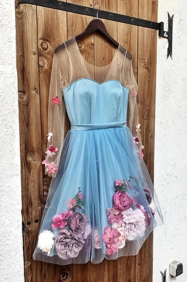 Blue Short Prom Dresses Long Sleeve Homecoming Dress With Appliques A Line