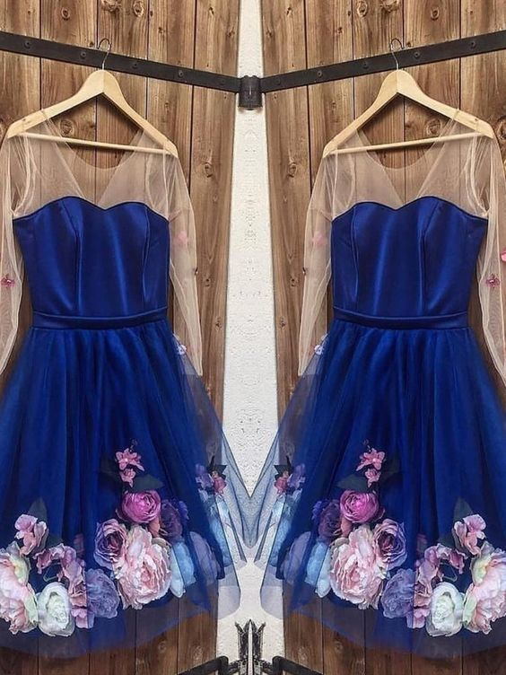 Long Sleeves Prom Dresses Short Blue Formal Graduation Homecoming Dresses With