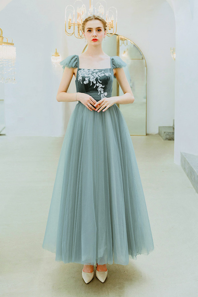 Charming Prom Dress,A-Line Prom Gown, Appliques Prom Dress, Scoop Prom Gown 0037