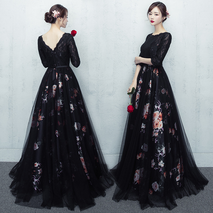 Lovely Lace Black Short Sleeves Party Dress, V-Back Prom Dress
