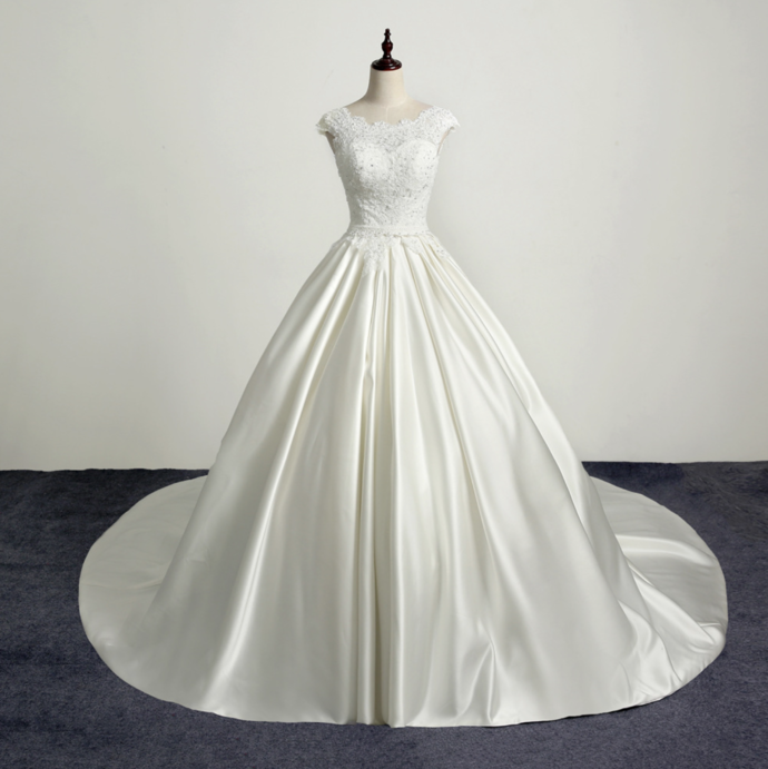 Elegant White Satin with Lace Long Wedding Dress, Bridal Gown 2020