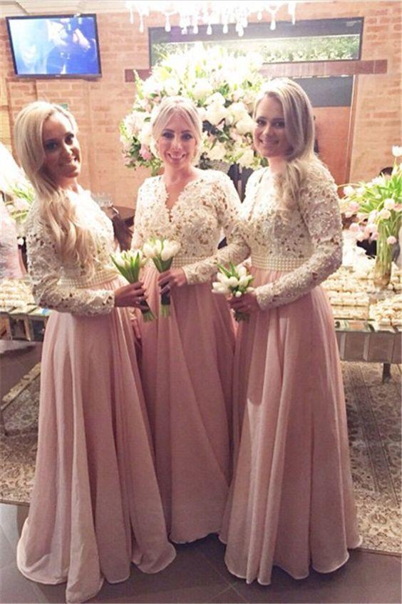 dusty pink bridesmaid dresses long sleeve elegant beaded chiffon cheap a line