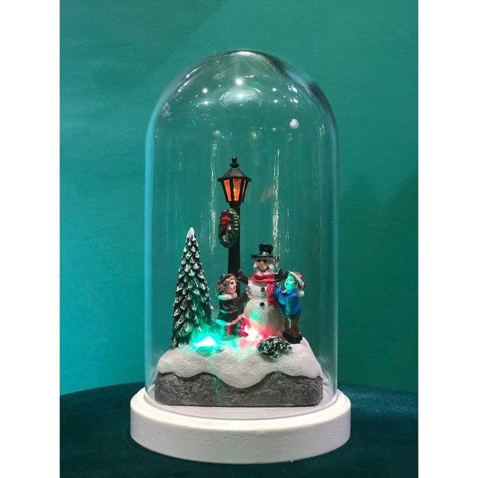 Lighted Noel Figured Bell Glass Lamp, Decorative Gift Lamp, Christmas Gift ,