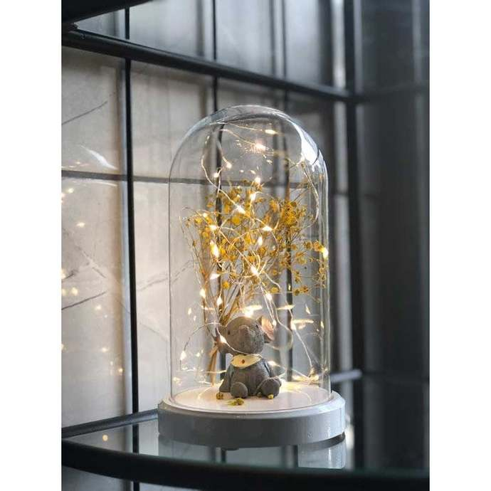Lighted Elephant with Bag Figured Bell Glass Lamp, Decorative Lamp, Desk Lamp,