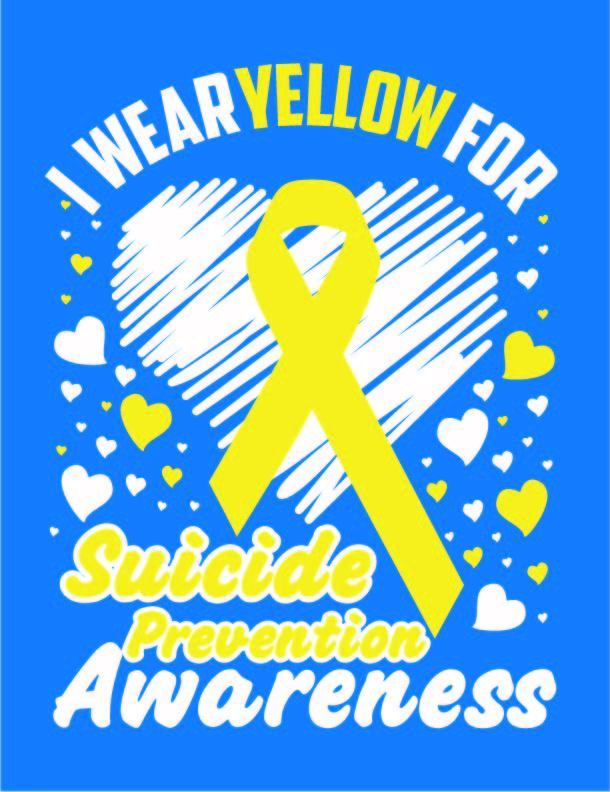 I wear yellow for suicide prevention awareness, semicolon, we are here for you,
