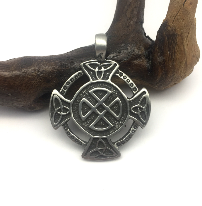 Celtic Solar Cross Pendant with Trinity Knot - with or without leather necklace