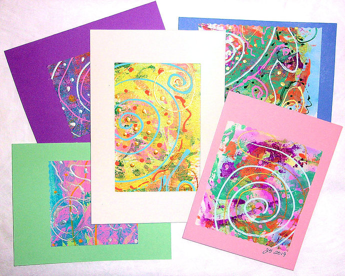 Handpainted Greeting Card assortment, set of 5 — Every card unique!