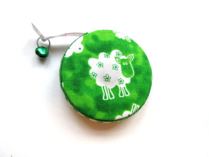 Tape Measure Sheep on Green Retractable Measuring Tape