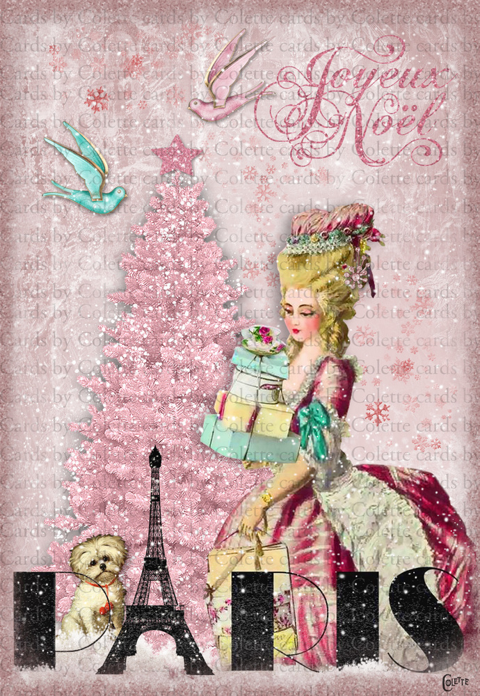 Christmas Marie Shopping Digital Collage Greeting Card2503