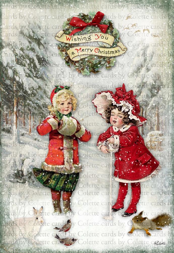 Christmas Girl Feeding the Birds Greeting Card2504