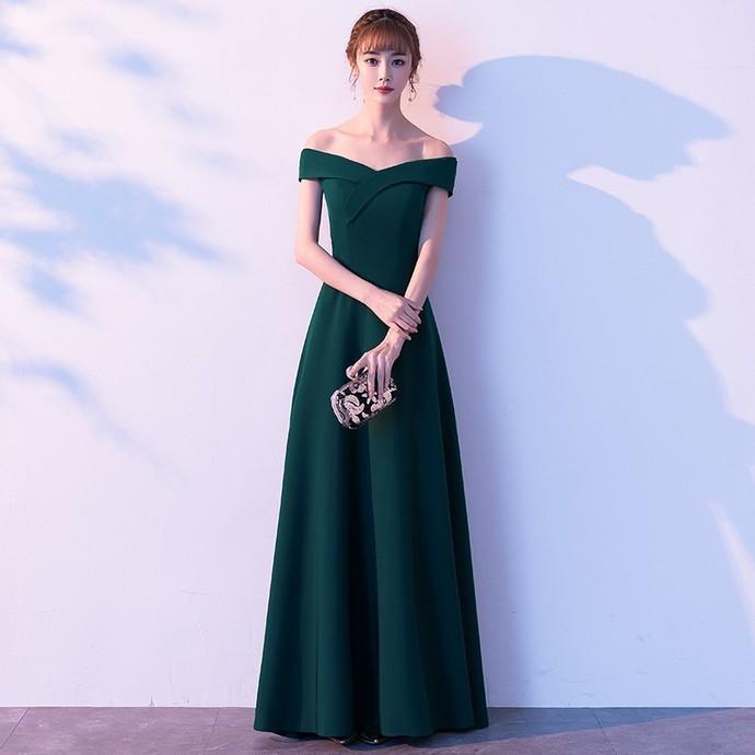 Dark Green Off Shoulder Prom Dress 2020, Green Formal Dress