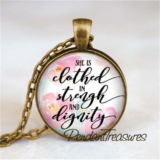 PROVERBS Necklace, Proverbs 31:25, Proverbs Pendant, Bible Scripture Necklace,