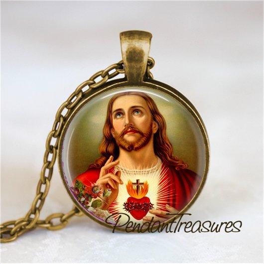 SACRED HEART of JESUS Christ Necklace, Christian Jewelry, Glass Photo Art