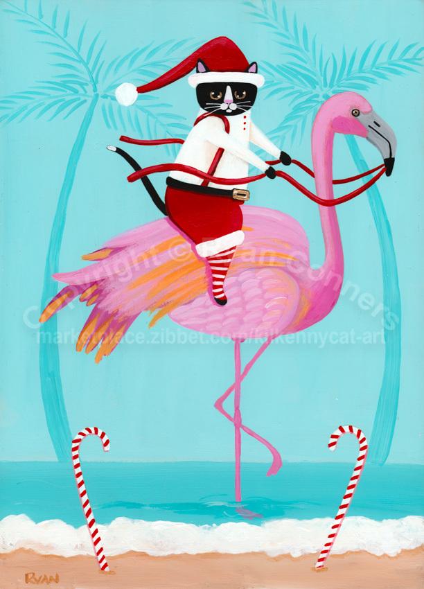 Coastal Santa Claws on a Flamingo Original Cat Folk Art Painting