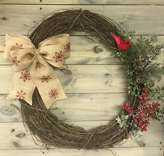 Winter Cardinal Wreath