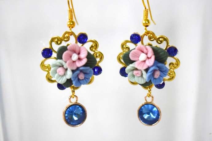 earrings flower earrings polymer clay earrings dolce earrings baroque earrings