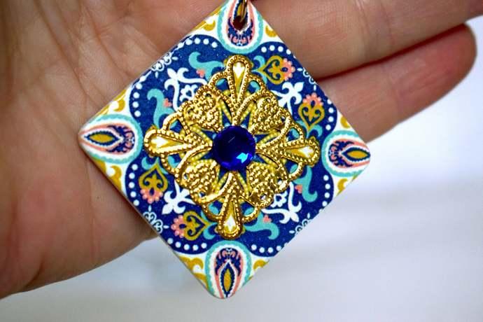 earrings Blue gold earring mexican earrings folk mexican earrings tribal