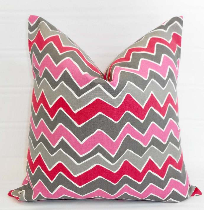 Pink Pillow cover. Seesaw Flamingo Pink Decorative Pillow. Zigzag. sham cover.
