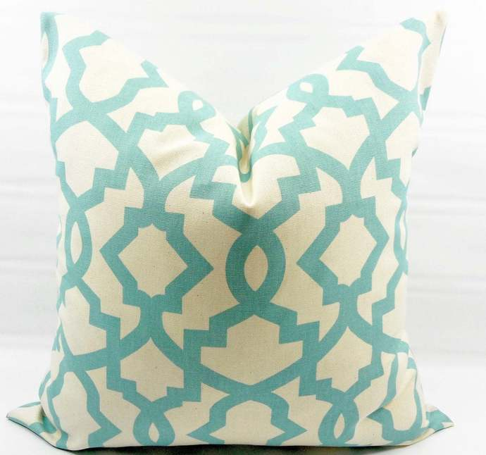 Village Blue & off white Pillow cover. Sheffield Print Pillow cover. Country