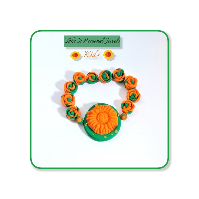 Girl's Flower Bracelets Handmade Bright tones Pink,Yellow and Orange Polymer