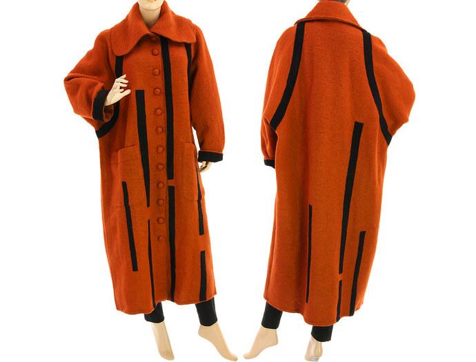 Maxi fall winter wool coat in rust, long coat boiled wool rust with black,