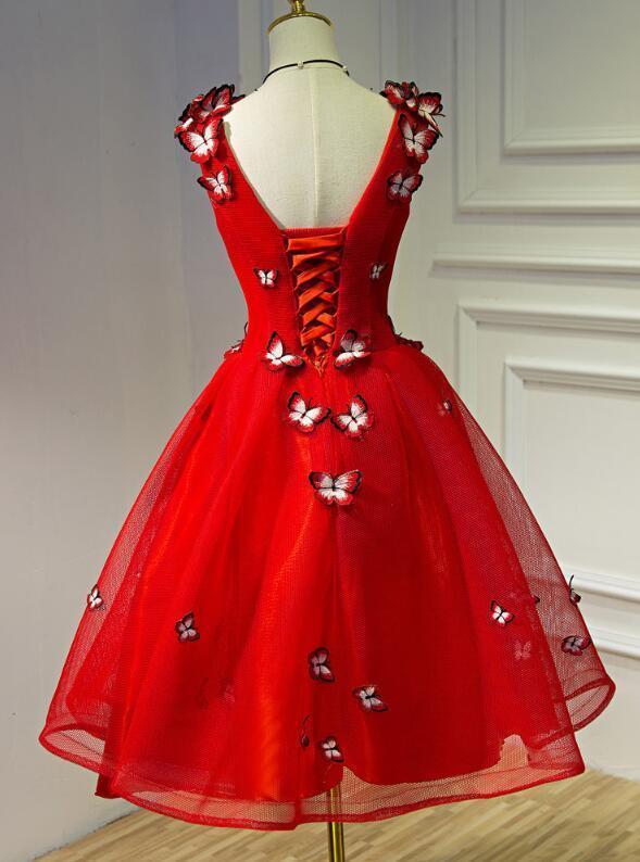 Red Tulle V-neckline Short Prom Dress 2020, Red Homecoming Dress