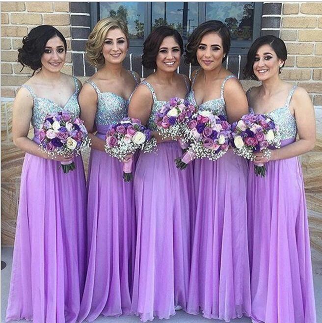 purple beaded bridesmaid dresses long spaghetti straps chiffon cheap a line