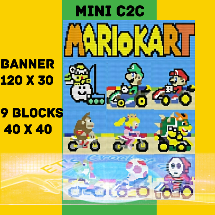 Mario Kart Mini C2C 10 Pattern Bundle includes Graphs and Written Color Charts