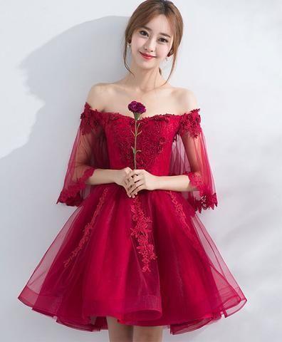 Burgundy off shoulder tulle lace short prom dress, burgundy homecoming dress