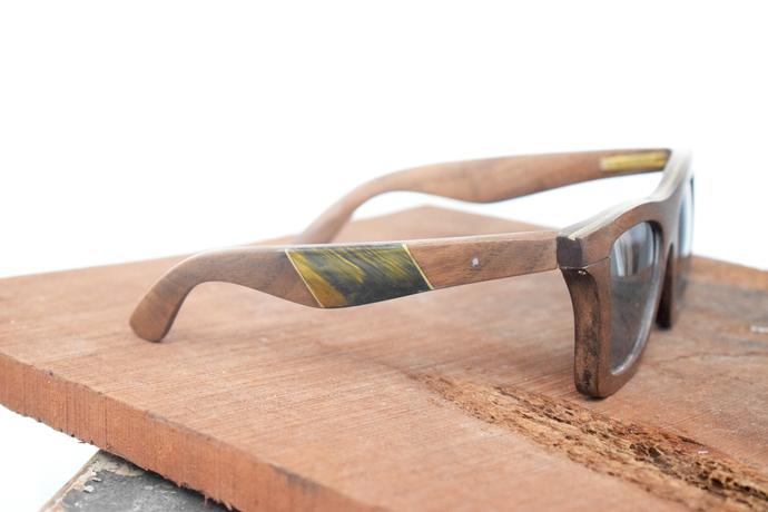 Tiger eye stone inlay walnut wood glasses