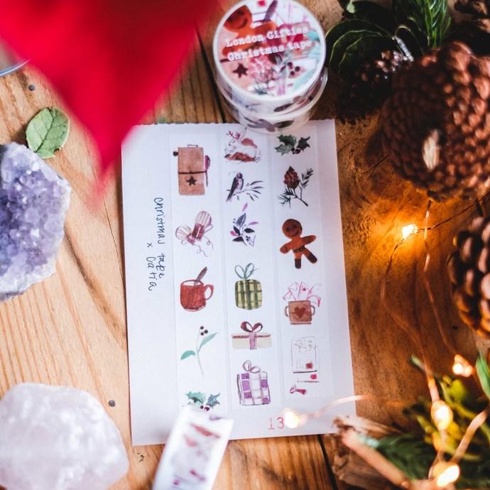 London Gifties original watercolour design washi tape - Christmas festive tape -