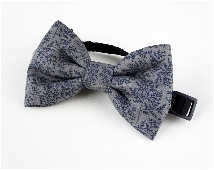 Gentlecat Gray Bow Tie for Pets, Small Dogs, Pet Accessories, Slide on Bow Tie,