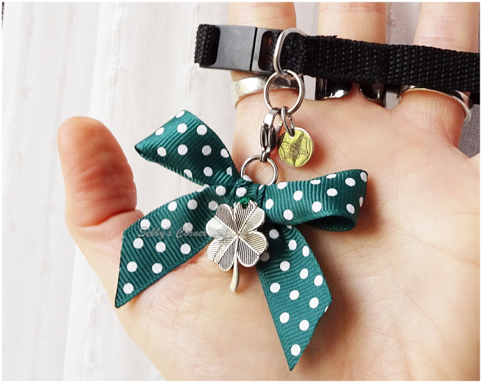 Lucky Charm 4 Leaf Clover Charm with Ribbon, pet jewelry, st. Patricks Day,