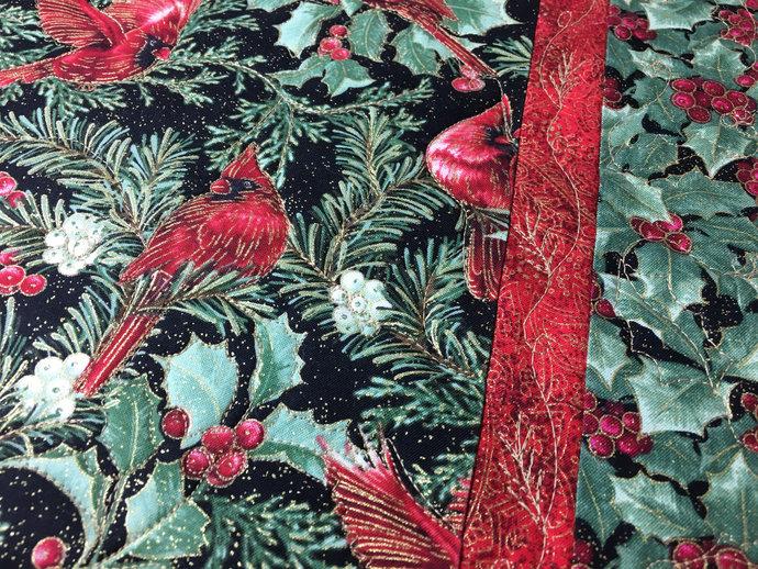 Table Runner Christmas Birds Holly Leaves Handmade Quilted Decor