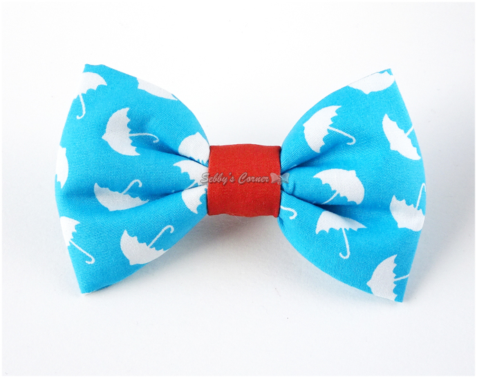 It's Raining Treats Umbrella Print Bow Tie for Cats, Removable, Cotton, Pet