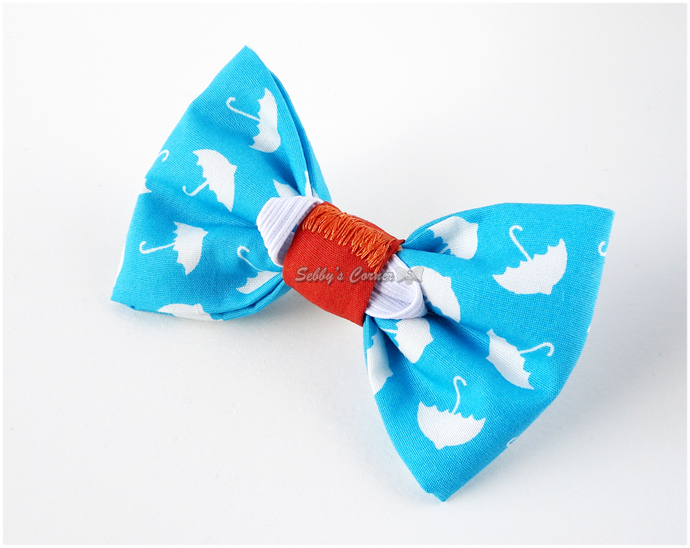 It's Raining Treats Umbrella Print Bow Tie for Cats, Removable, Cotton, Pet