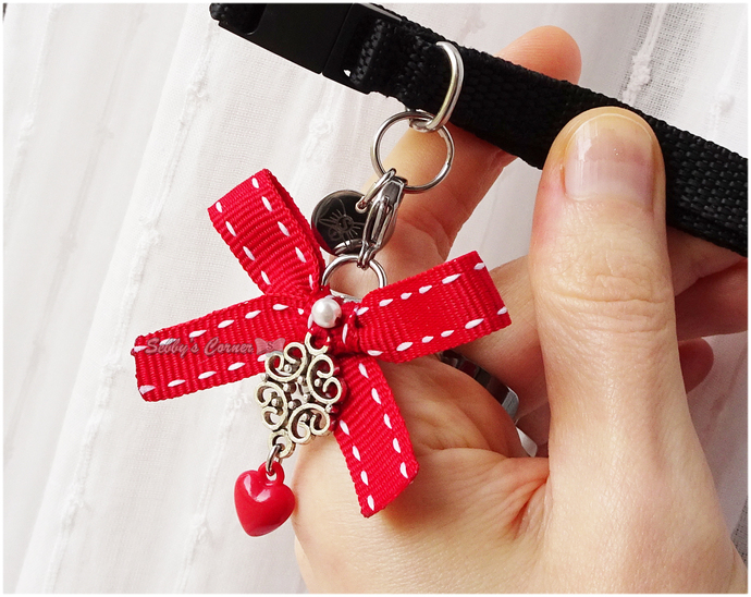 Be Mine Red Heart Charm, Pet Jewelry, Pet Accessories, Valentine's Day,