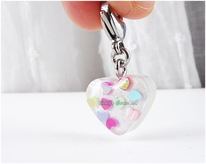 Love Hearts Resin Charm, Valentine's Day, Zipper Pull, Pet Jewelry