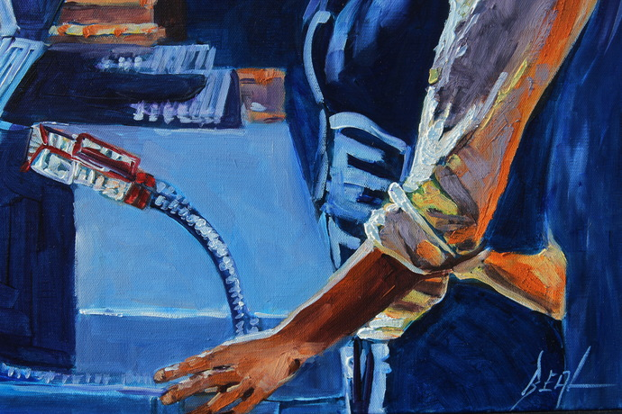 The Bartender An Original Oil Painting on Canvas by Rebecca Beal