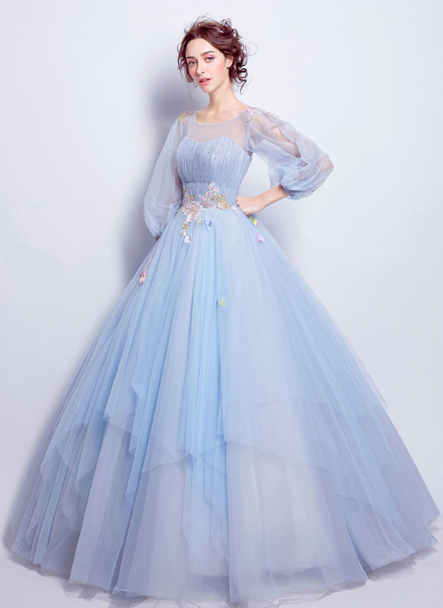 Charming Prom Dress,Tulle Prom Gown, Appliques Prom Dress, Long-Sleeves Wedding