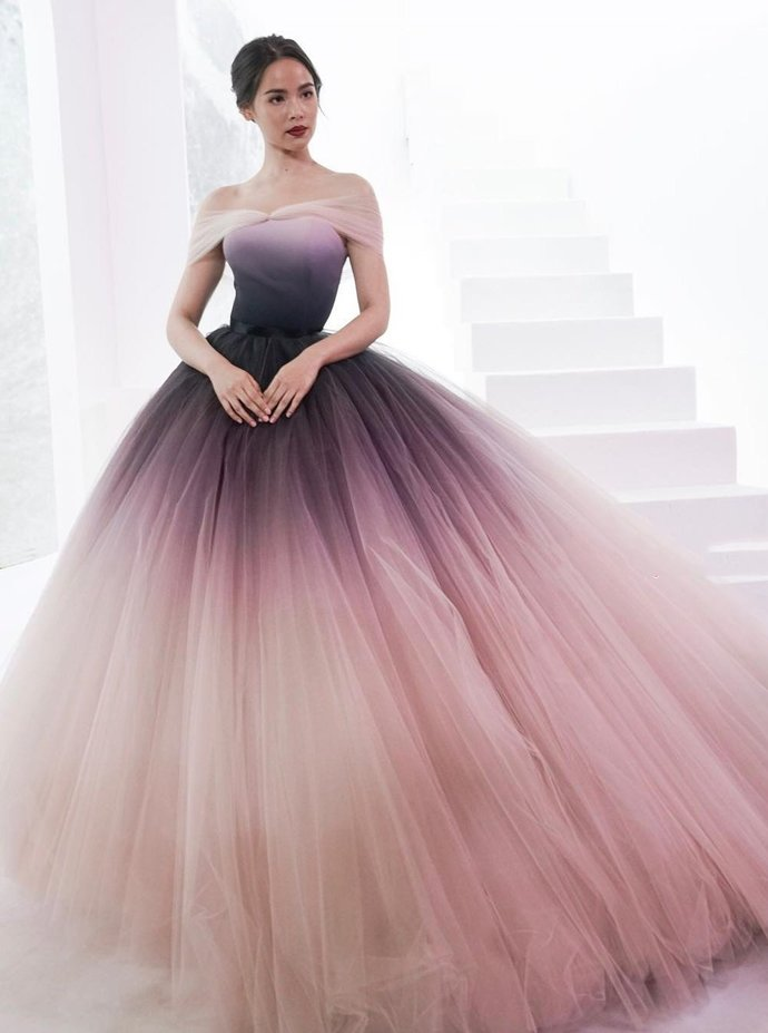 Gradient Prom Dress,Tulle Prom Gown, Off the Shoulder Prom Dress, Ball Gown