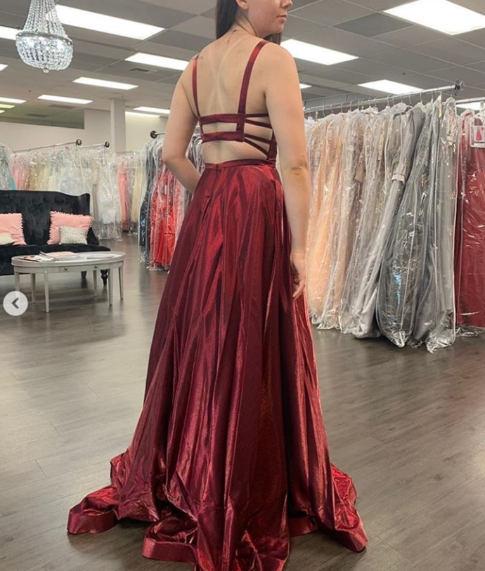 Red Prom Dress,Satin Prom Gown, A-Line Prom Dress,Backless Wedding Gown 0045