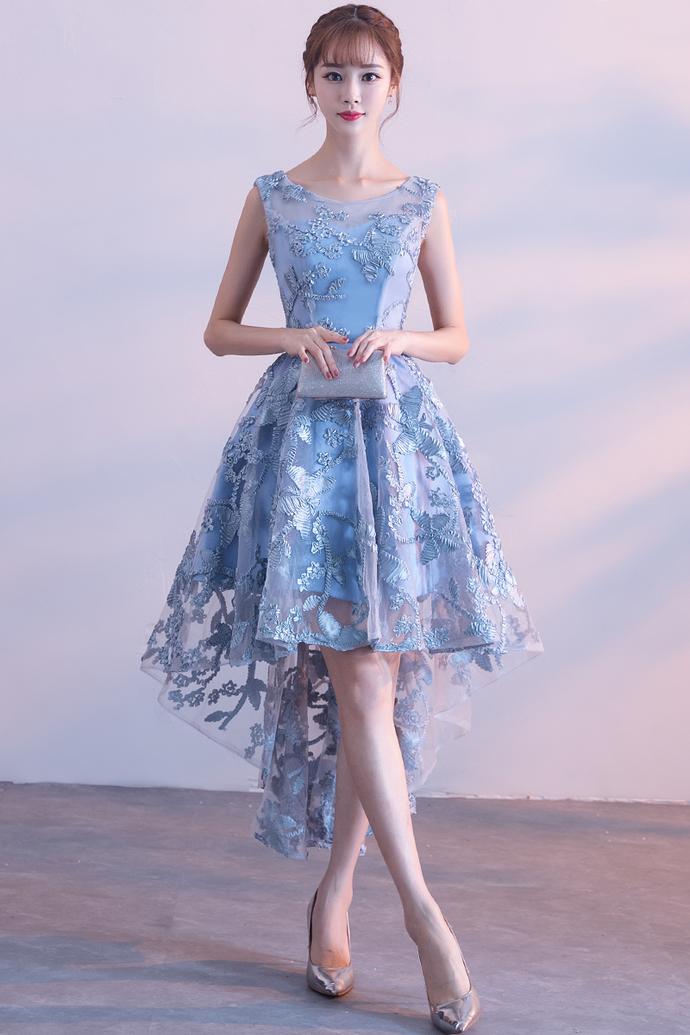 Chic Blue High Low Lace Floral Party Dress, Blue Party Dress 2020