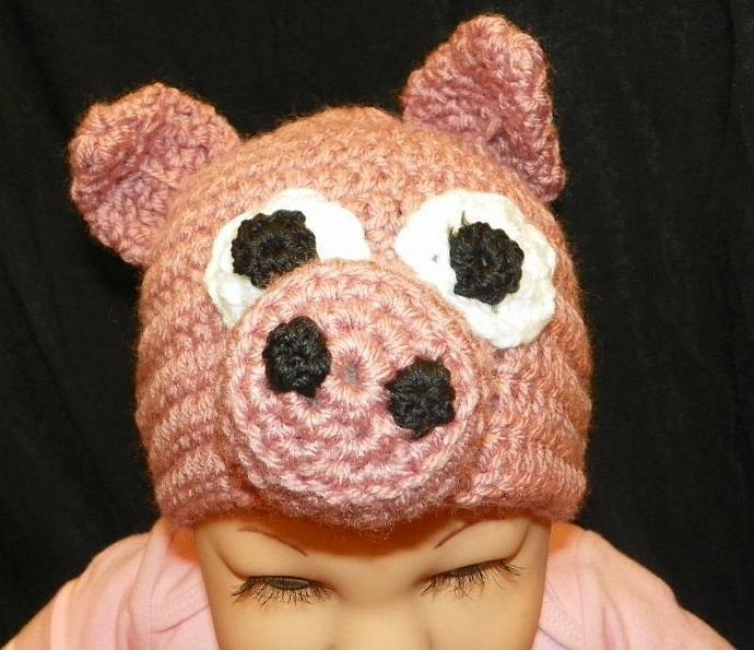 Little Piggy Baby Beanie Hat Crochet Pattern Size 6months to 24 months