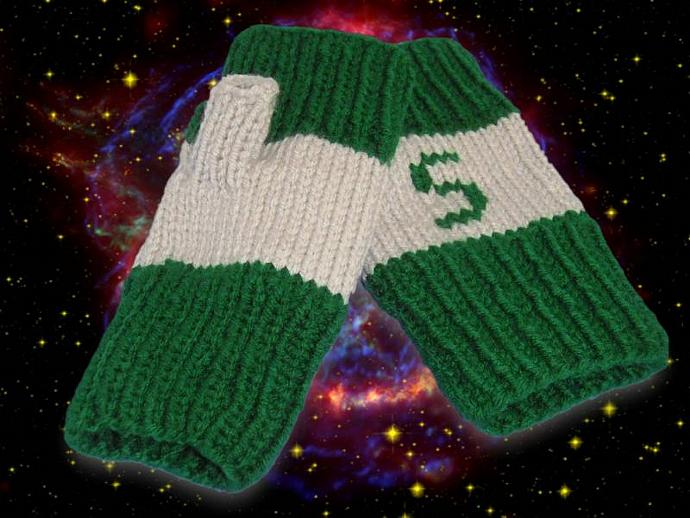 WARM and FUN- Slytherin Fingerless Gloves for the Harry Potter fan