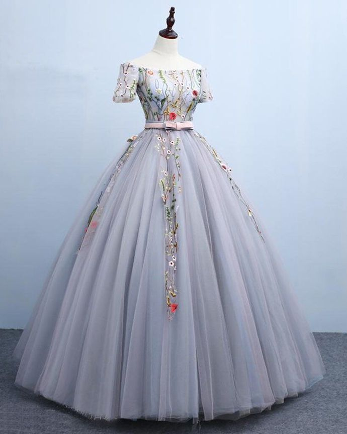 Light Grey Off Shoulder Ball Gown Sweet 16 Dress, Party Dress 2020