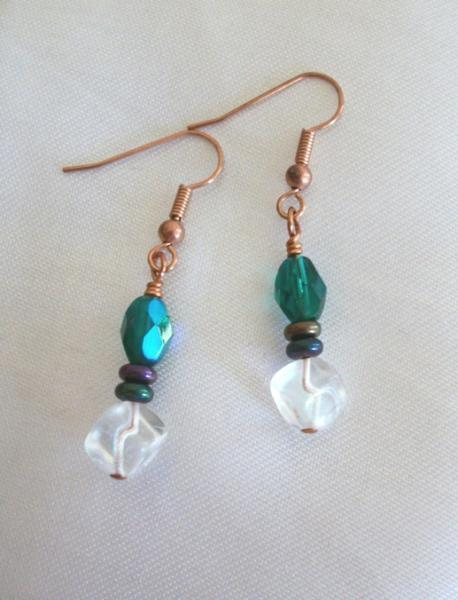 Handmade Copper Beaded Green and White Dangle Earrings